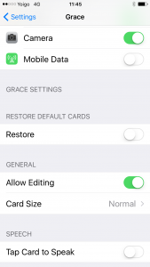 Grace settings menu